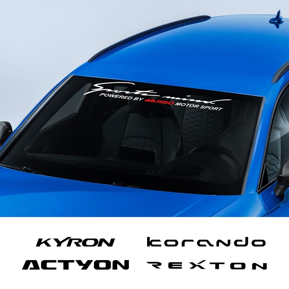 Pegatinas de parabrisas delanteras para coche, calcomanías de vinilo de ajuste automático para SsangYong Actyon Korando Kyron Musso Rexton Tivoli, accesorios