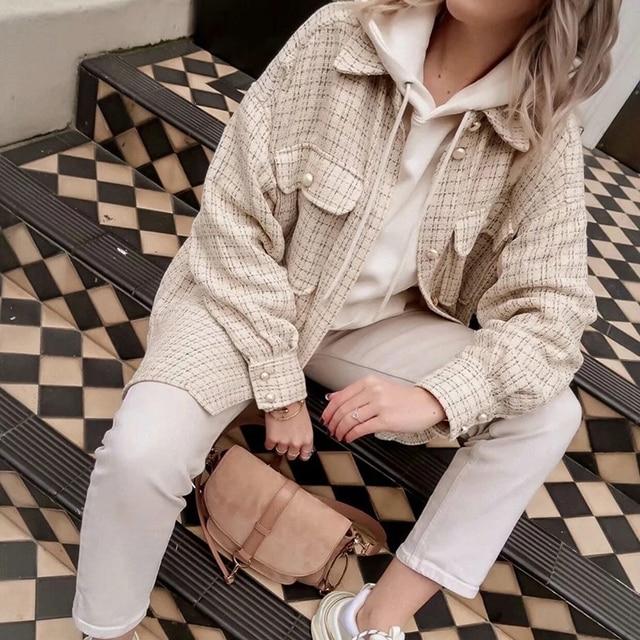 Tweed Women Vintage Oversize Shirt 2