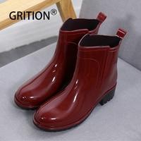 GRITION Women Rain Boots Waterproof Rubber Sole Low Heel Winter Shoe Female Middle Tube Fashion 2019 New Brand Design Ankle Boot