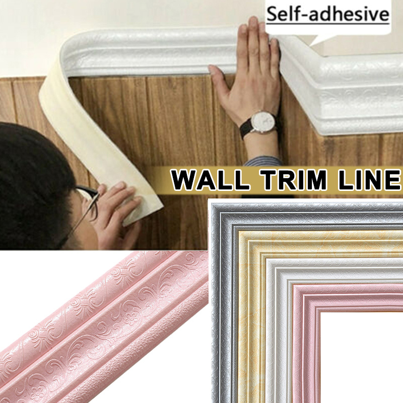 2.3M 3D Border Waterproof Wall Sticker Top Corner Line Wall Edge Strip Wall Waist Line Sticker Tiles Wallpaper Border Home Decor