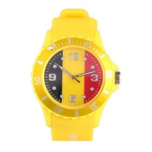 Spanish/Brazilian Flag Pattern Red Color Silicone Wristwatches Casual School Quartz Watch Unisex Fashion Sports Watches casual watch geneva unisex quartz watch men women wristwatches fashion sports watches rose gold silicone watches dropship
