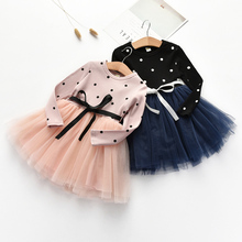 цена на Girls Dress Fashion Baby Girls Cotton Princess Dress Autumn Casual Long Sleeve Lace Outfits Vestidos For Children Dress 40