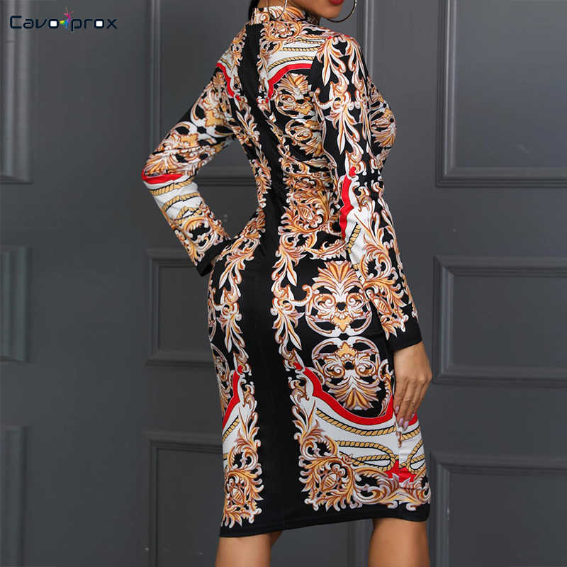 Kadınlar Retro baskı ekle uzun kollu Bodycon elbise Casual kılıf diz boyu yaz o-boyun artı boyutu kulübü parti elbise