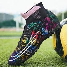 Buty piłkarskie do użytku w pomieszczeniach męskie buty piłkarskie oddychające lekkie TF AG korki do grania w piłkę nożną dla dzieci trampki dla dzieci sporty treningowe korki