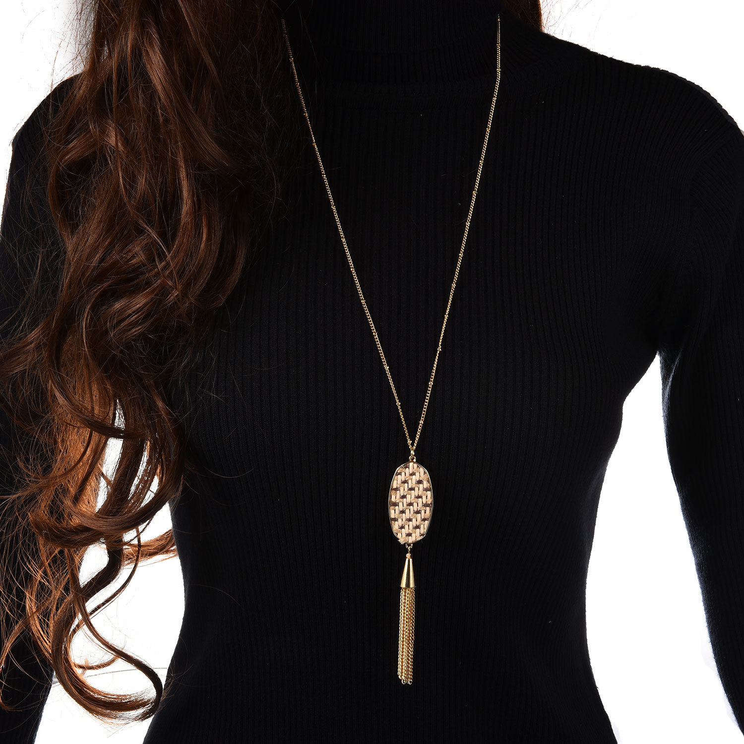 New Bohemia straw velvet rope tassel long money chain ladies temperament decorated sweater chain