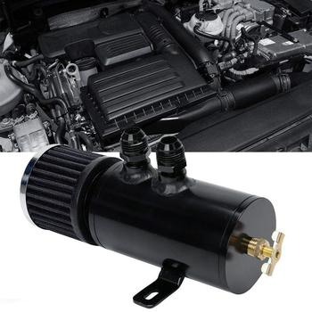 Universal Oil Catch Can Black Aluminum Oil Catch Can Kit Tank+breather Car Clean Reservoir Engine Filter Baffled Accessorie G3W0