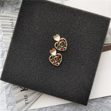 Korean Little Cute Vintage Hollow Heart Simple Woman Girls Stud Earrings Fashion Jewelry Holiday-JQD5-W2