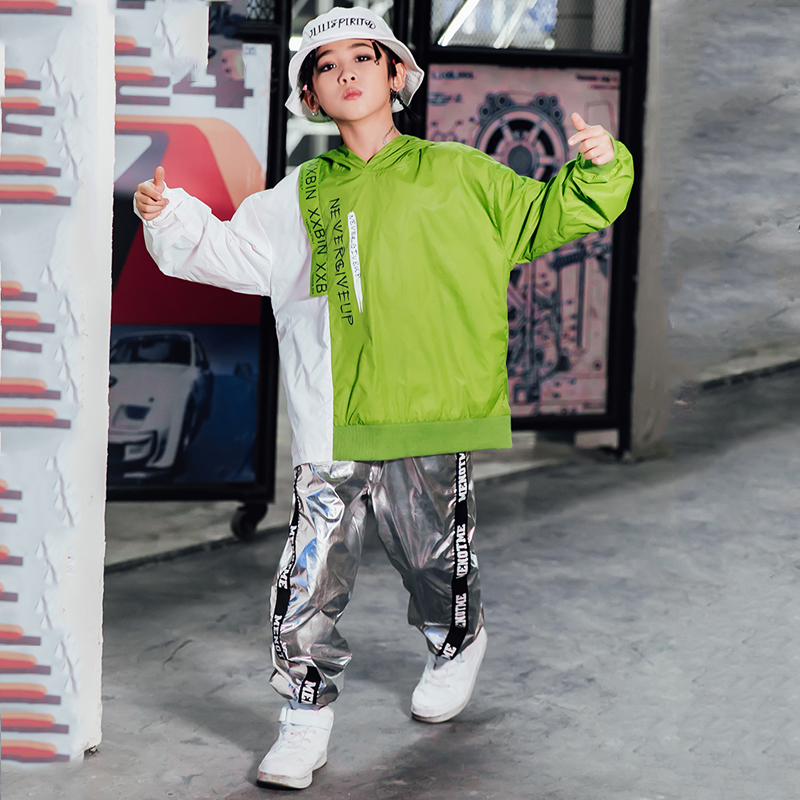 Children Hip Hop Dance Costume Kids Autumn Winter Street Wear Boys Dancing Performance Silver Pant Hiphop Sweater Stage Outfit