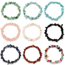 Wholesale Women Irregular Natural Crystal Stone Strand Bracelet Fashion Delicacy Stretch Chain Jewelry Accesories
