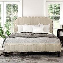 E n e n e n e n e n e n e n e n e n e/tam/kral/kraliçe boyutu Modern keten kavisli döşemeli Platform yatağı katı ahşap çerçeve Nailhead Trim