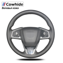 Handsewing Black Genuine Leather Steering Wheel Covers For Honda Civic Civic 10 2016 2019 CRV CR V 2017 2019 Clarity 2016 201