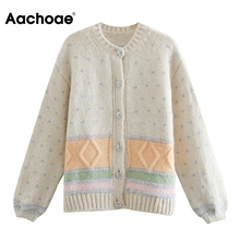 Vintage Sweater Cardigan-Coat Ladies Outerwear Knitted Long-Sleeve Neck-Patchwork Casual