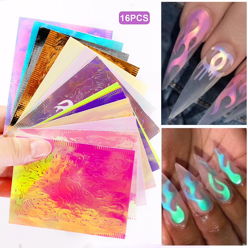 16Sheets/Set Fire Aurora Flame Nail Sticker Holographic Colorful Reflections Self-Adhesive Foils DIY Nail Art Decoration Sticker