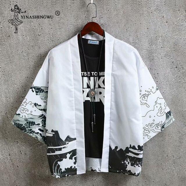 Kimona sweter mężczyzn Yukata kobiety japońskie kimono tradycyjne Unisex Harajuku plaża luźne cienka koszula chroniąca przed słońcem koszule płaszcz