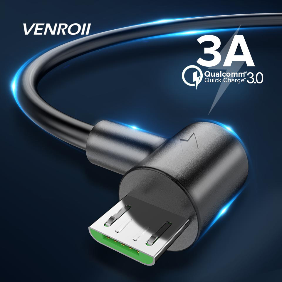 Venroii <font><b>3A</b></font> Micro USB <font><b>Cable</b></font> Data Sync Phone Charger Cord for Samsung Huawei Honor 8X Xiaomi Redmi Note 5 1M 2M Fast Charging Wire image