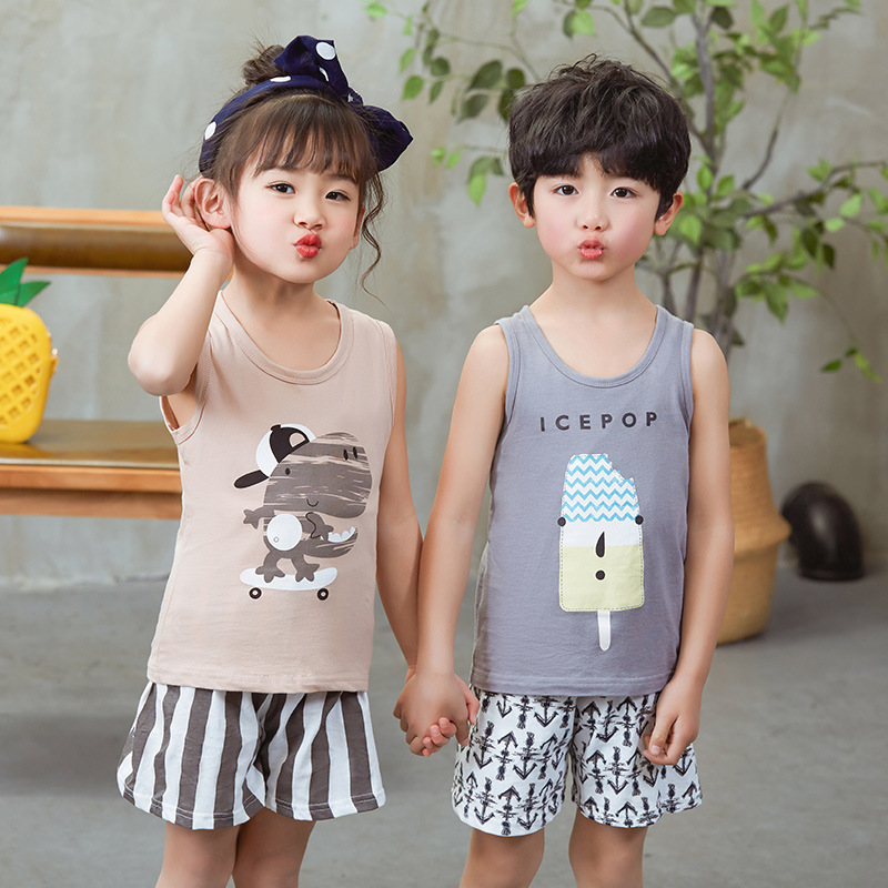 Kids Boys Sleepwear Baby Girls Pajama Sets New Summer Cotton Pyjamas Cartoon Nightwear Vest Shorts Pijamas Children Clothes Set