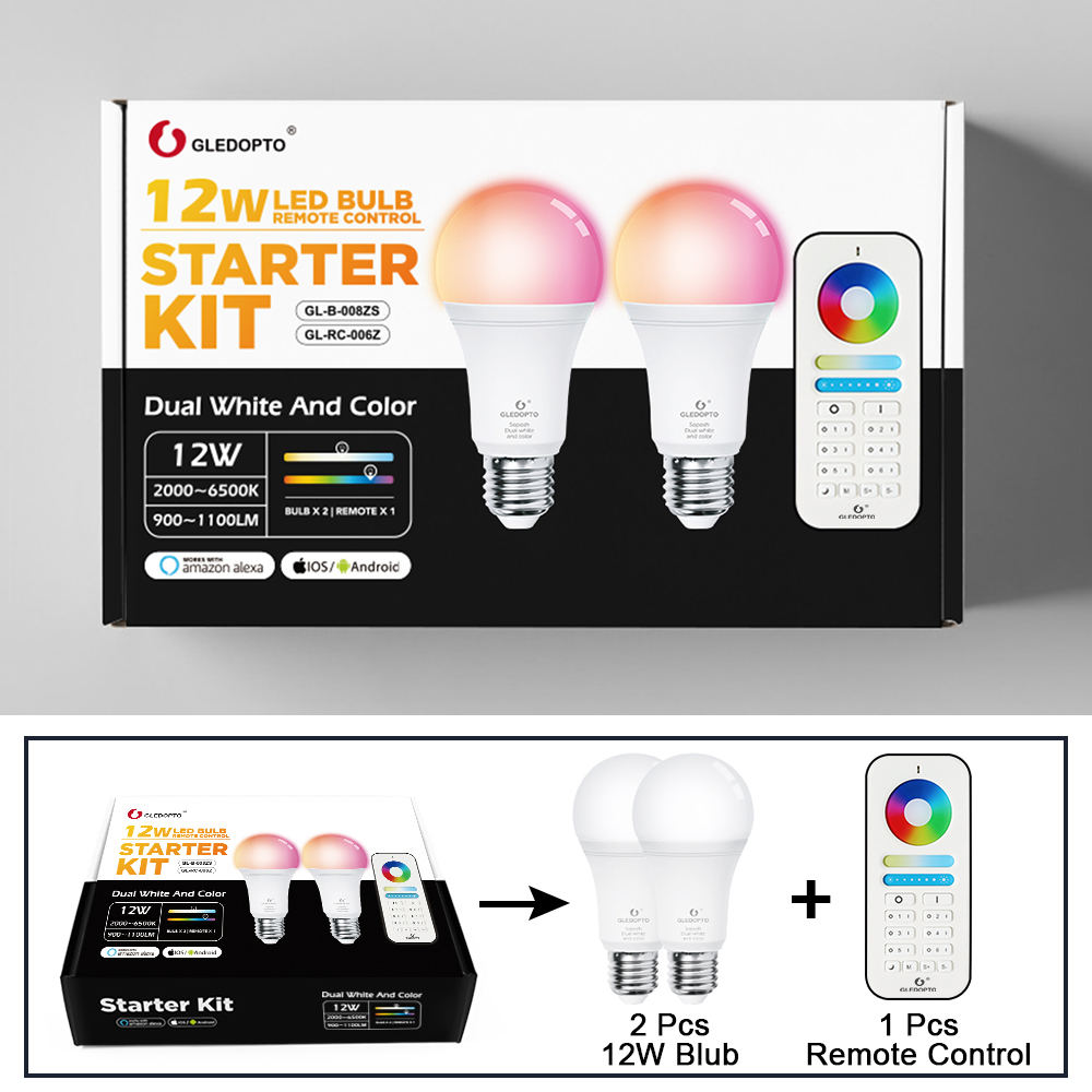 Image 5 - Gledopto White and Color E27 12W LED smart bulb 2 Pack,Zigbee compatible 3.0 gateway ,voice activated with Alexa, 6 zone remote-in LED Bulbs & Tubes from Lights & Lighting