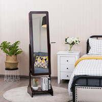 High quality Premium and Sturdy Furniture Standing Jewelry Cabinet with Full length Mirror Home Storage Organization HW63124CF
