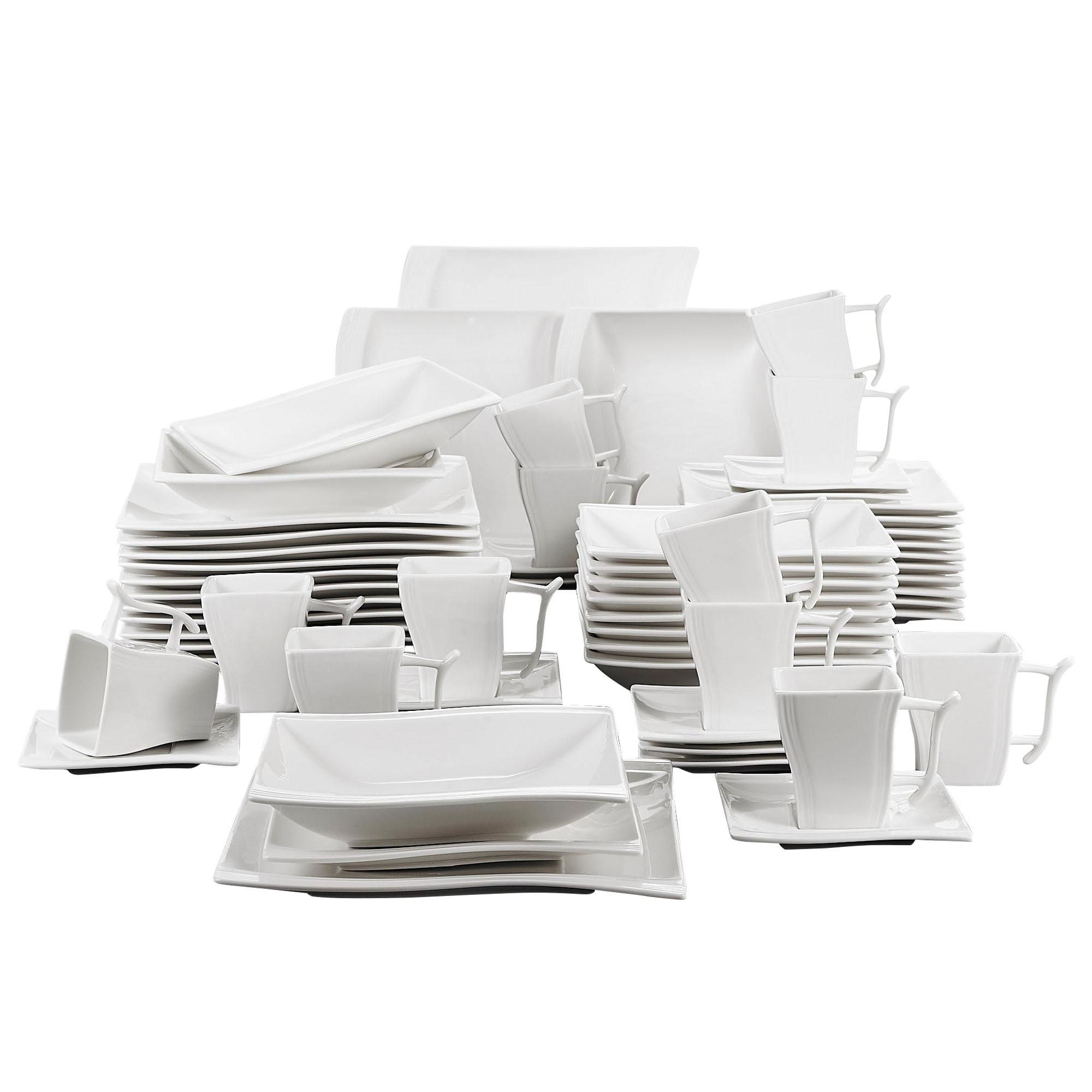 MALACASA FLORA 60-Piece White Porcelain Dinner Set with 12*Cup,Saucer,Dessert Soup Dinner Plate Dinnerware Set Service 12 Person 1