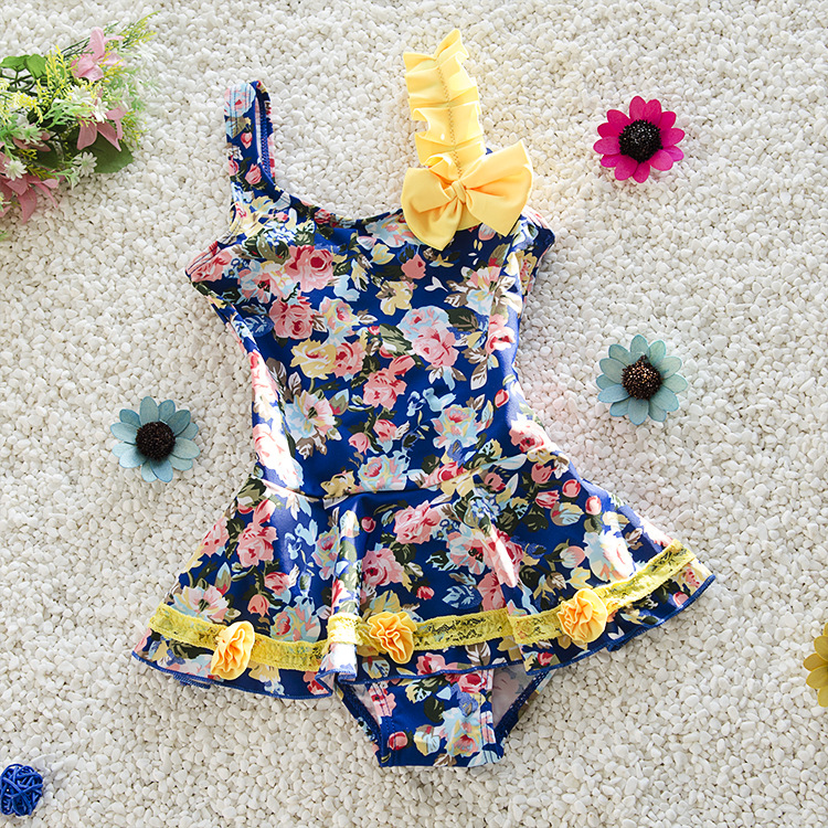 New Style KID'S Swimwear 2-10-Year-Old Cute Cartoon Peony Dress-Women's Middle And Large Small CHILDREN'S Baby Bathing Suit
