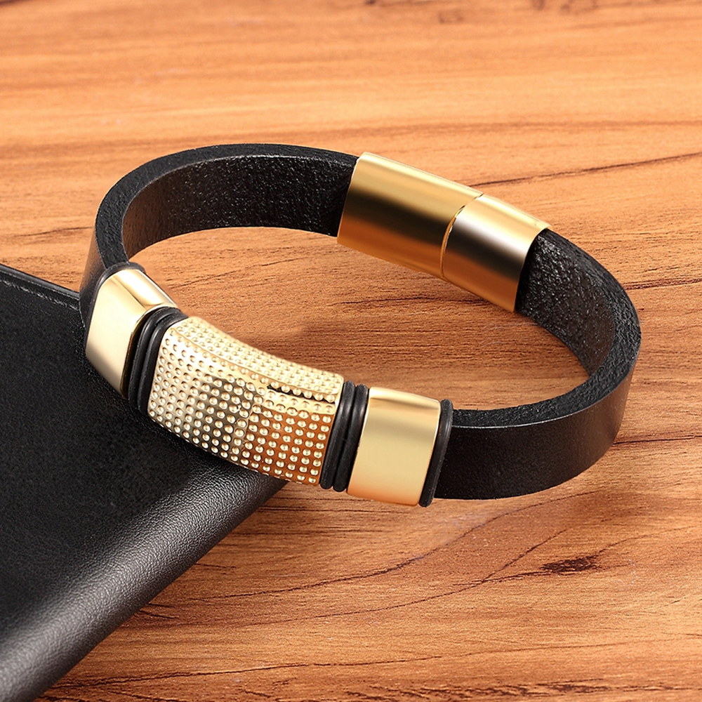 XQNI Classic Style Combination Accessories Stitching DIY Men's Stainless Steel Leather Bracelet Luxury Men Jewelry Lucky Gift
