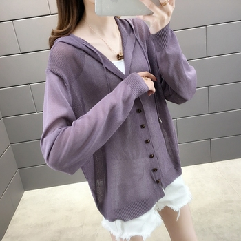 Room 156984, row 2, No.2] take a real photo of the new pure color ice hemp hooded sun proof shirt 34 4