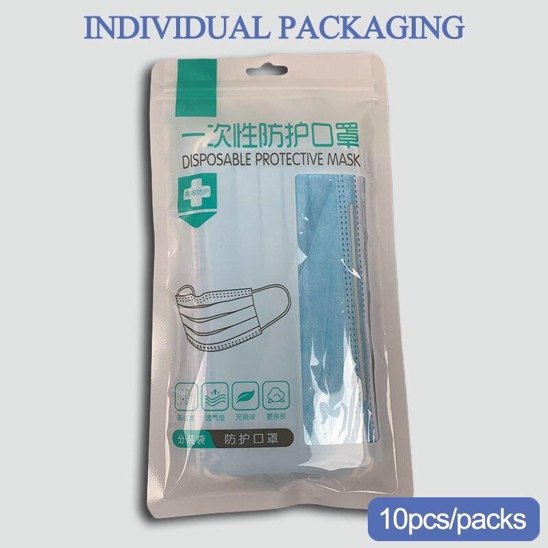 Disposable Protective Masks 10 Pcs Antivirus Unisex Mask 3 Layers Cover Face Mouth Mask 100pcs