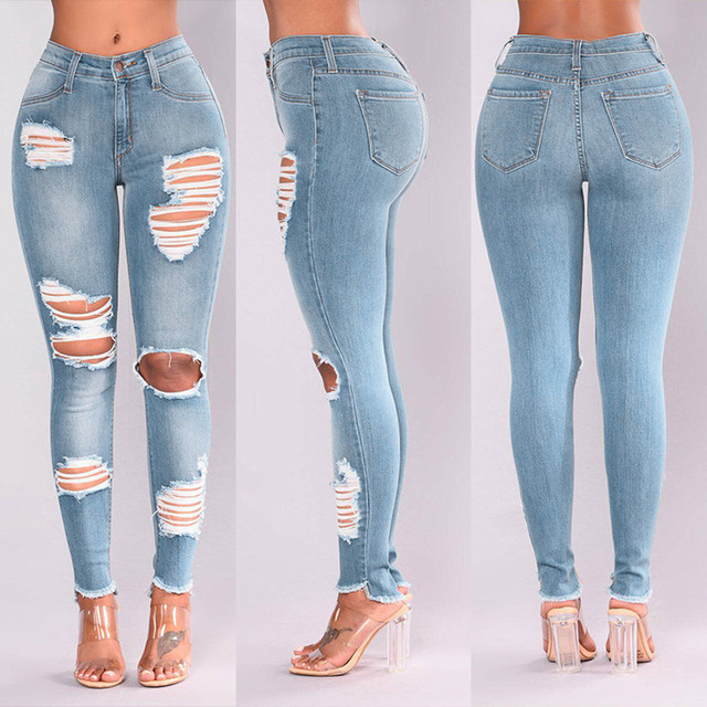 2021 Newest Hot Womens Stretch Skinny Ripped Hole Washed Denim Jeans Female Slim Jeggings High Waist Pencil Pants Trousers #R25 1