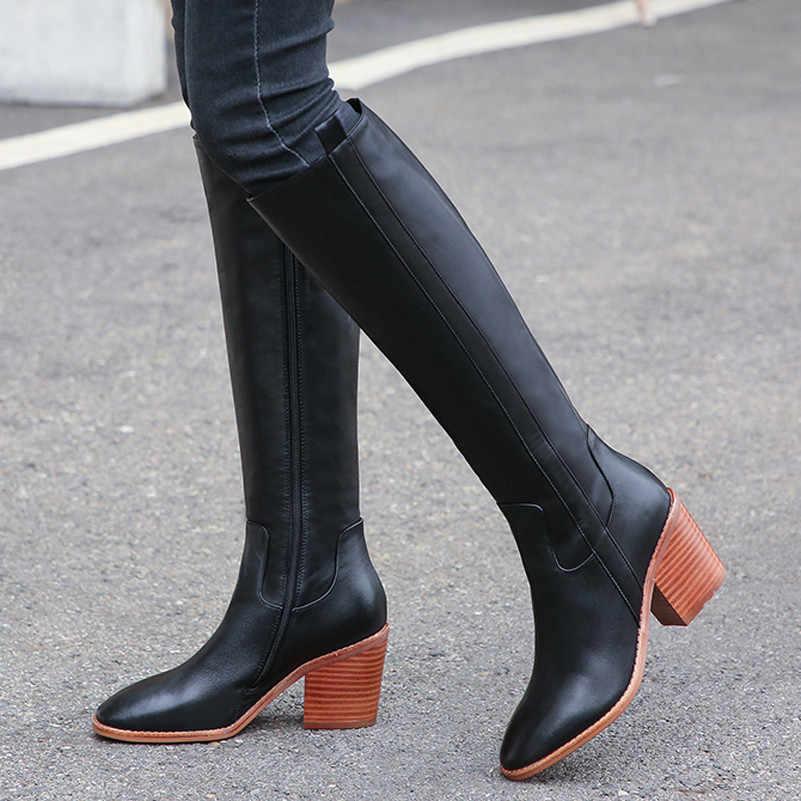 Meotina 가을 무릎 높은 부츠 여성 천연 정품 가죽 블록 하이힐 롱 부츠 지퍼 라운드 발가락 신발 레이디 겨울 34-43