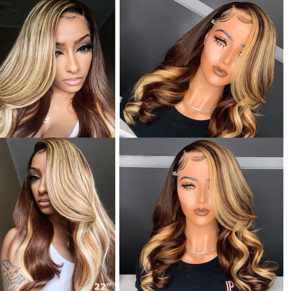 Ombre Brown Honey Blonde Highlight Wig Colored 13x6 Lace Front Human Hair Wigs Body Wave Atina Full 360 Lace Frontal Wig Remy Hd