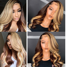 Ombre Brown Honey Blonde Highlight Wig Colored 13×6 Lace Front Human Hair Wigs Body Wave Atina Full 360 Lace Frontal Wig Remy Hd