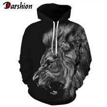 3D Hoodie Lion Print Men Hoodie Long Sleeve Hooded Sweatshirts Autumn Winter Hooded Pullovers Tops Casual Tracksuit Plus Size недорого