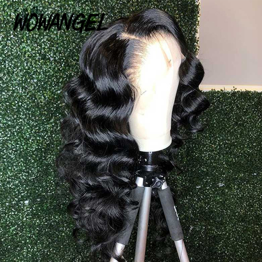 Wowangel 13 By 6 Fake Scalp Lace Front Human Hair Wigs PrePlucked Invisible Transparent 360 Lace Frontal Wig Deep Wave Remy