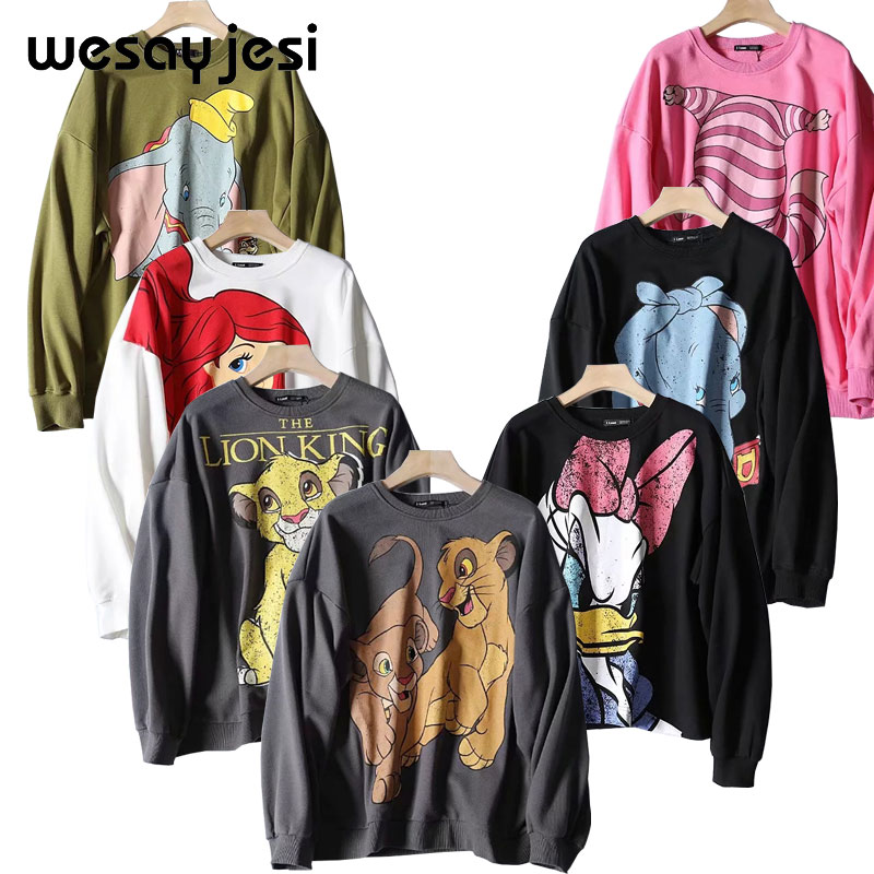 Womens Sweatshirts Hoodies Pullover Long-Sleeve Lion King-Print Black Pink Casual O-Neck title=