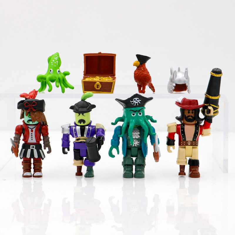 4Pcs/Set Pirate Duel Priate Action Figure Toys VR Game Rob Roles Anime Model Toys Assembly Building Blocks Suit With Accessories