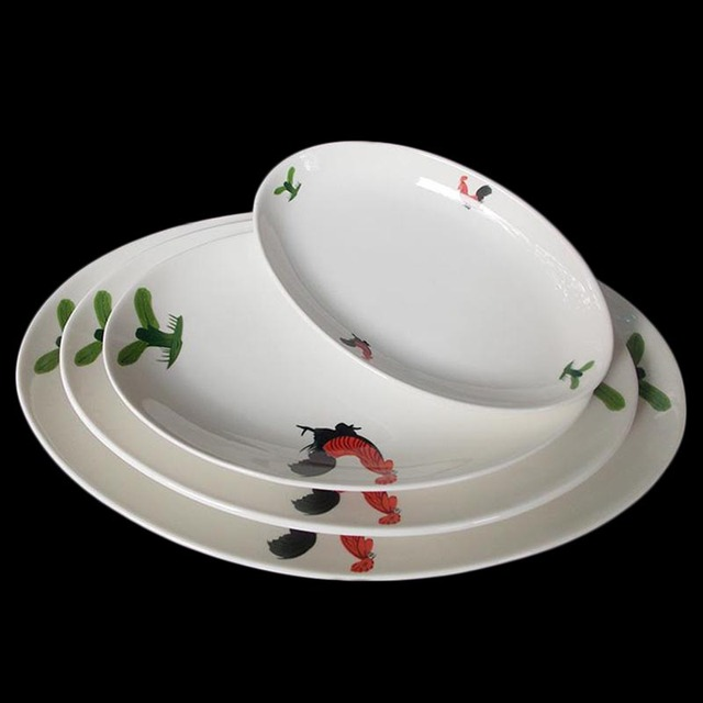 8-14inch Chinese Vintage Cock Ceramic Food Dishes Oval Tray White Dinner Plate Snacks Sushi Steak Fish Plates Kitchen Dinnerware