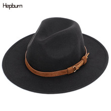 Hepburn Brand Unisex Womens Men Fedoras Hat Summer Spring Woolen Blend Cap Outdoor Gentleman Elegant Lady Trilby