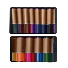 Profesjonalny 72 zestaw kolorowych ołówków wstępnie zaostrzone rozpuszczalne w wodzie kredki w kolorze wody z pędzelkiem schowek ochronny