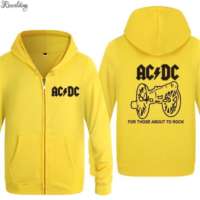 Mens Hoodie  Band Rock AC DC Print Hoodies Men Fleece Long Sleeve Zipper Jacket Coat Sweatshirt Hip Hop Skate Tracksuit Big Size