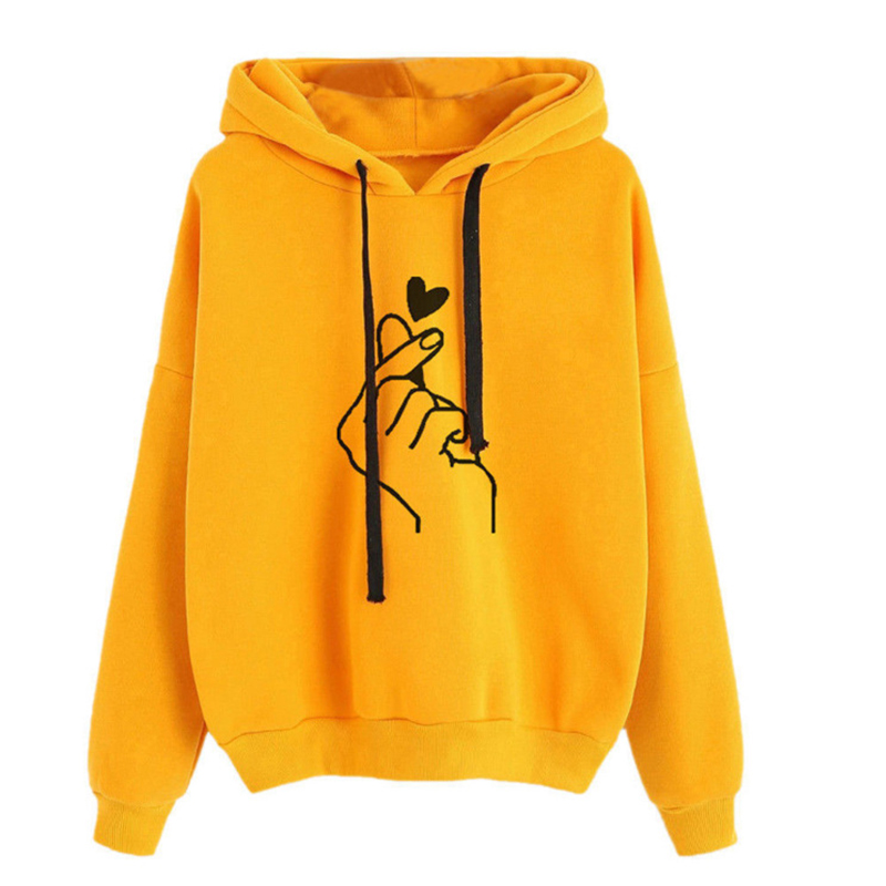 Oversize Heart Print Hooded Sweatshirt Pullover Long Sleeve Solid Color Hoodies Oversized Casual Loose Cotton Women's Hoodies