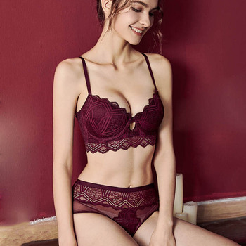 CINOON New Top Sexy Underwear Set Push-up Bra And Panty Sets Hollow Brassiere Gather Sexy Bra Embroidery Lace Lingerie Set 2