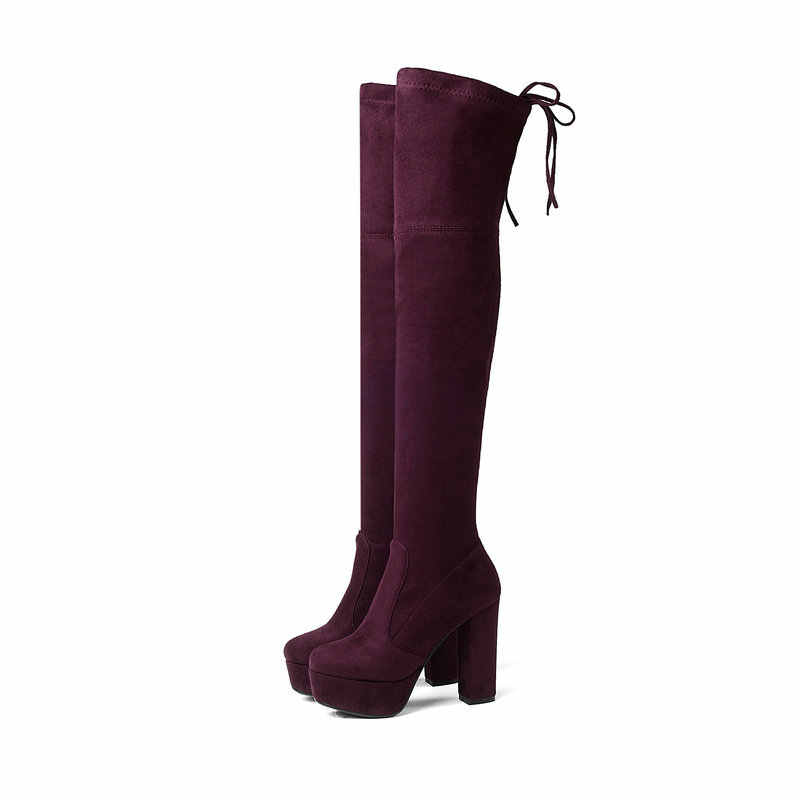 Siyah Gri Mavi Kırmızı Bayan Streç Ince üzerinde Diz Çizmeler Tıknaz Yüksek Topuk Uyluk Çizmeler Platformu Kışlık Bot Ayakkabı 2019