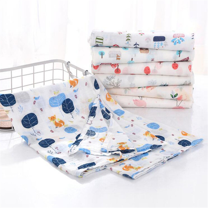 Baby Blankets Muslin Swaddle Newborn Organic Cotton Baby Bath Manta Bebe Infant Wrap Sleepsack Stroller Cover Milestone Blanket