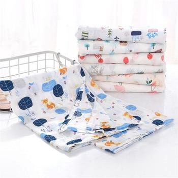 Baby Blankets Muslin Swaddle Newborn Organic Cotton Baby Bath Manta Bebe Infant Wrap Sleepsack Stroller Cover milestone blanket For All (0-3 years) Nursery Shop by Age Swaddle Blankets