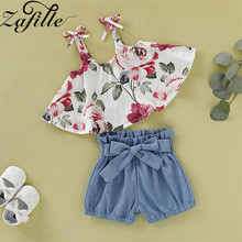 ZAFILLE 2020 Newborn Baby Girl Clothes Summer Floral Printed Outfits Sets Girls Clothing Baby Girl 2Pcs Top+Shorts Baby Clothes 2pcs kids baby girl clothes floral sets off shoulder tops bib shorts outfit summer infant clothing newborn girl clothes baby set