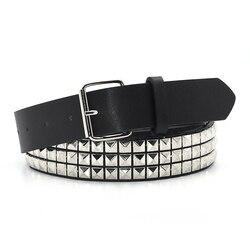 Cinturón GAOKE piramidal de moda con remaches para hombres y mujeres, cinturón tachonado Punk Rock con hebilla de Pin, envío directo negro