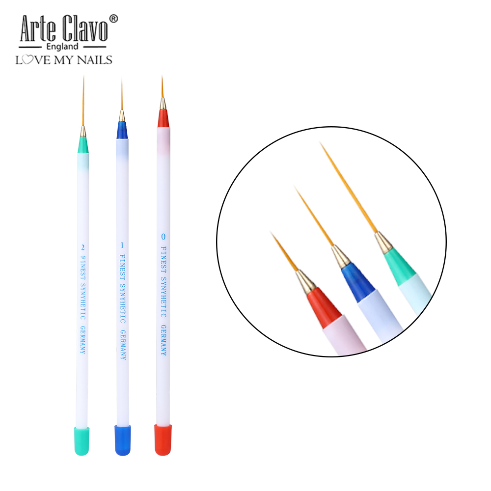 Arte Clavo 3pcs Nail Art Liner Painting Pen 3D Tips DIY Acrylic UV Gel Brushes Drawing Kit Flower Line Grid Manicure Tools