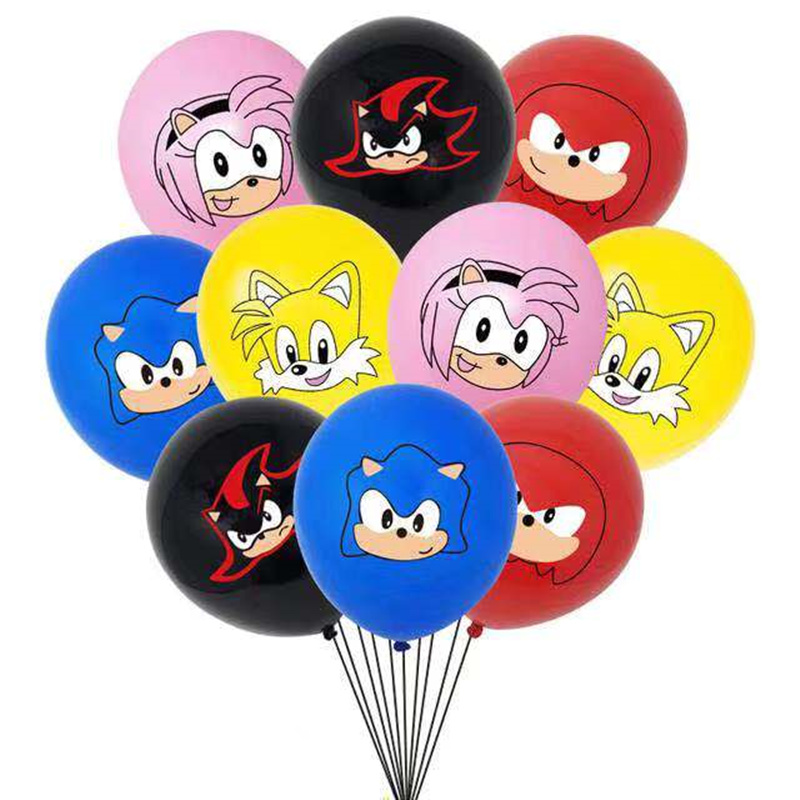 NEW 10pcs Sonic Latex Balloons The Hedgehog Superhero Game Fans Ballon Happy Brithday Party Decorations Kids Toy Supplies Globos