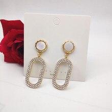 цена на 925 Silver Pin Oval Female Rhinestone Earrings Women's Holiday and Wedding Earrings Golden Oval Earrings Earrings for Women