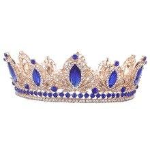 Trendy Multicolored Crystal Silver Luxury Round Queen Wedding Crown Bridal Tiara Rhinestone Diadem Head Jewelry Hair Accessories